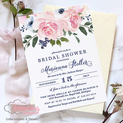 Blush and Navy Blooms Bridal Shower Invitation - Mapylla