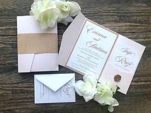 Rose Gold Glitter and Blush Pocket Wedding Invitations