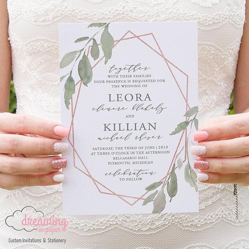 Leafy Green Rose Gold Geometric Wedding Invitations 233