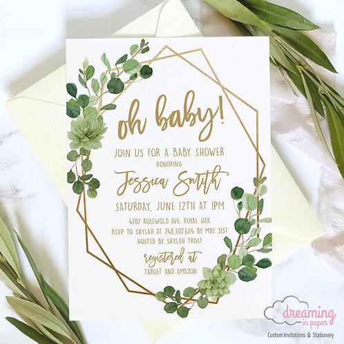Gold Geometric Baby Shower, Geometric Shower, Greenery Baby Shower, Oh Baby, Succulents Shower, Succulent Invite
