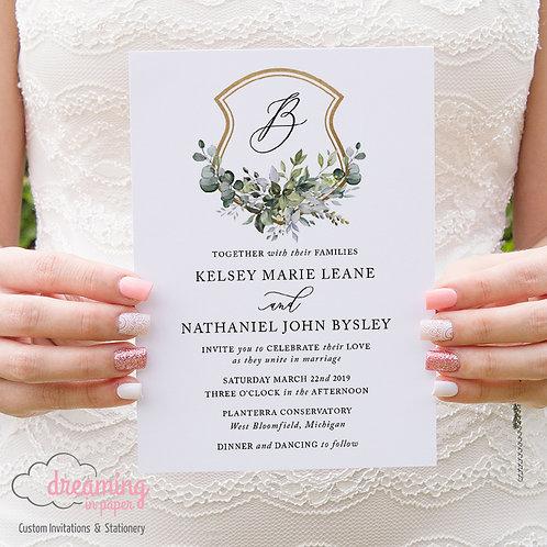 Greenery Lisima Golden Wedding Crest Classic Invitations 268