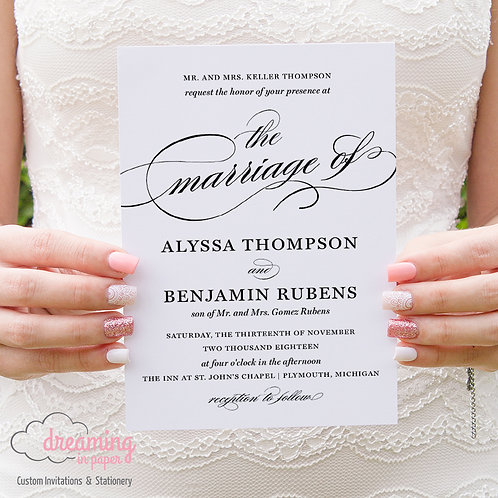 Classic Burgues Scroll Wedding Invitation