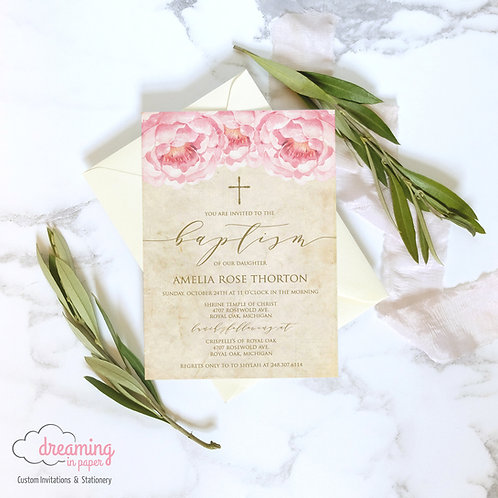 Antique Vintage Pink Peonies Gold Baptism Invitation