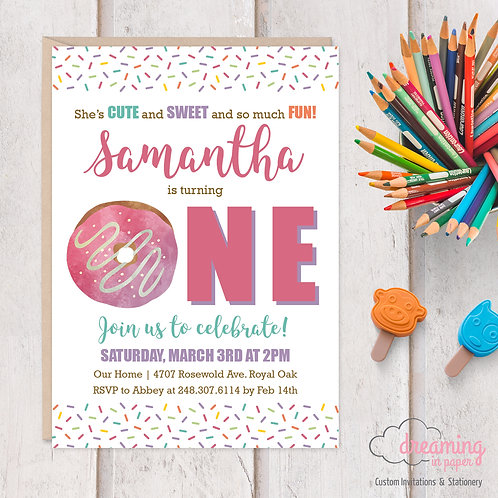 Donut ONE First Birthday Invitation
