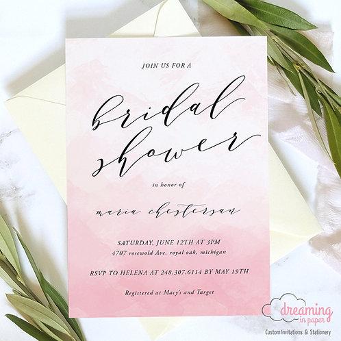 Blush Watercolor Bridal Wedding Shower Invitation
