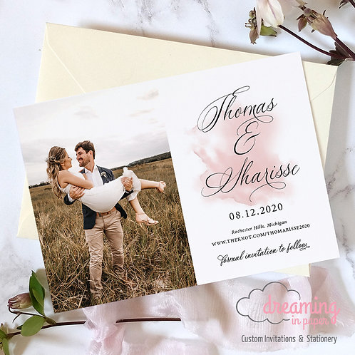 Blush Watercolor Splash Silenter Photo Save the Dates