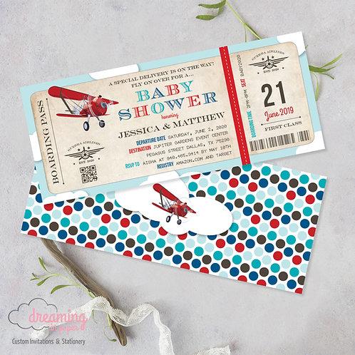 boarding pass invite, boarding pass invitation, airplane ticket, ticket invitation, birthday, baby shower, shower invite
