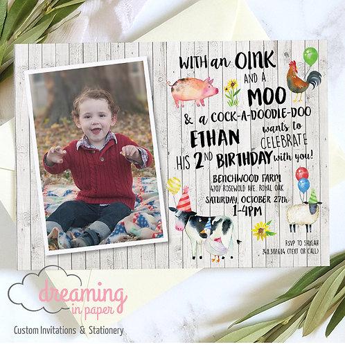 Farm Barnyard Photo Birthday Invitation
