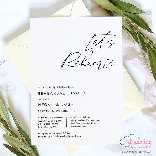 Modern Minimalist Blackstone Ink Rehearsal Dinner Invitation