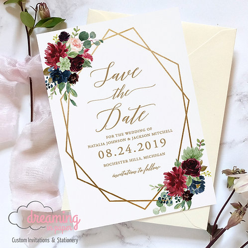 Gold Geometric Navy and Burgundy Floral Save the Dates