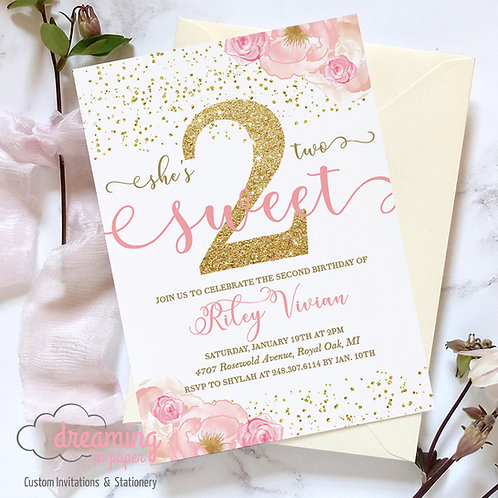 TWO SWEET Second 2nd Birthday Invitation