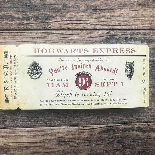 Harry Potter Birthday, Harry Potter Invite, Harry Potter Baby Shower, Boarding Pass, Hogwarts Express