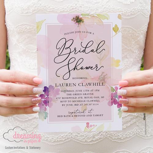 Bridal shower invites usa dreaming in paper spring floral bridal shower invitation filmwisefo