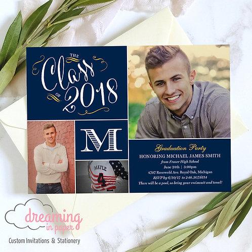 Monogram High School Graduation Party Invitation