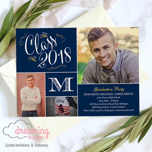 Monogram high school graduation party invitation graduation invitation high school monogrammed photo high school graduation party filmwisefo