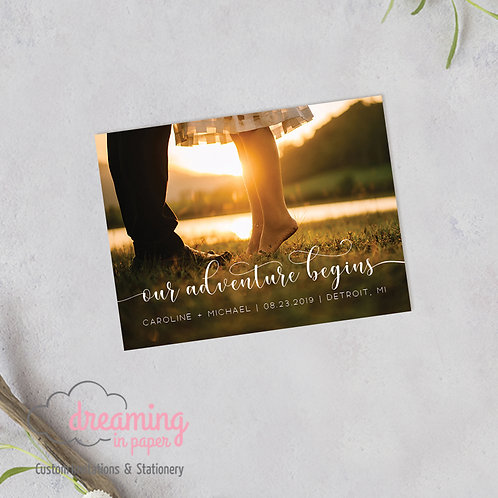 Our Adventure Begins Photo Save the Date Magnets