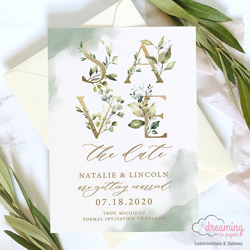 Botanical Gold and Greenery Lisima Golden Letters Save the Dates