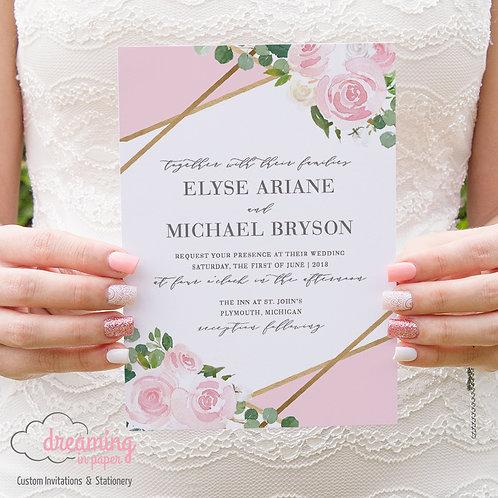 Geometric Gold and Blush Wedding Invitation with Eucalyptus