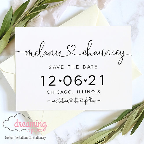 Cute Modern Hearts Script Save the Dates