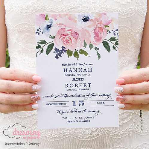 Blush and Navy Floral Vintage Wedding Invitation Set 019