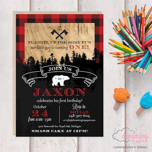 Lumberjack Buffalo Plaid Rustic Birthday Invitations