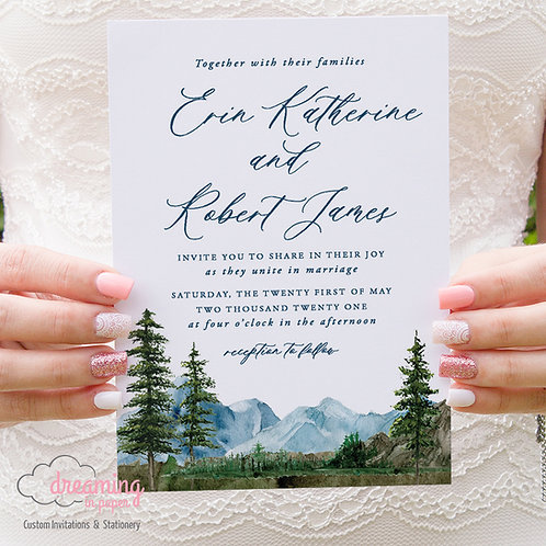Rustic Mountain Range Wedding Invitations 384