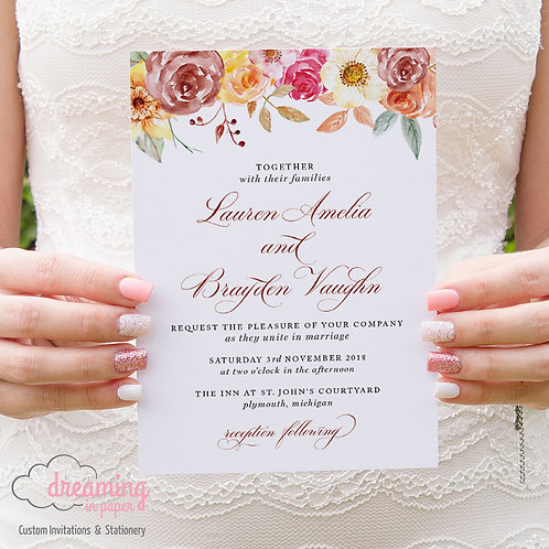 Autumn Fall Floral Formal Wedding Invitations