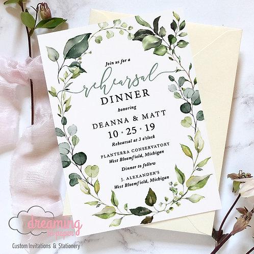 Botanical Greenery Leaf Rehearsal Dinner Invitation