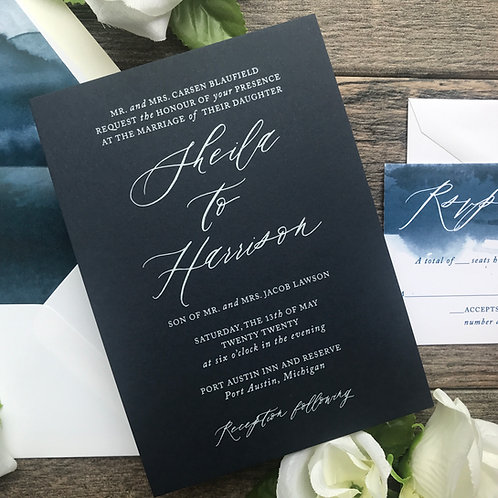 White Ink Sheila Navy Watercolor Wedding Invitations WI 02