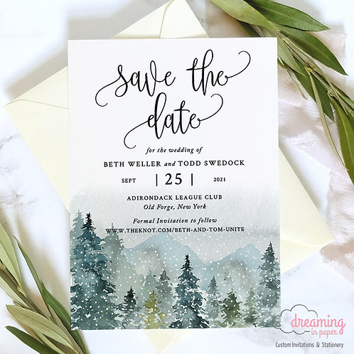 Rustic Mountain Forest Watercolor Winter Save the Dates 313