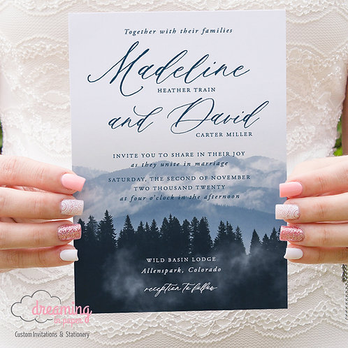 Mountain Trees Rustic Elegant Dusty Blues Wedding Invitations 323