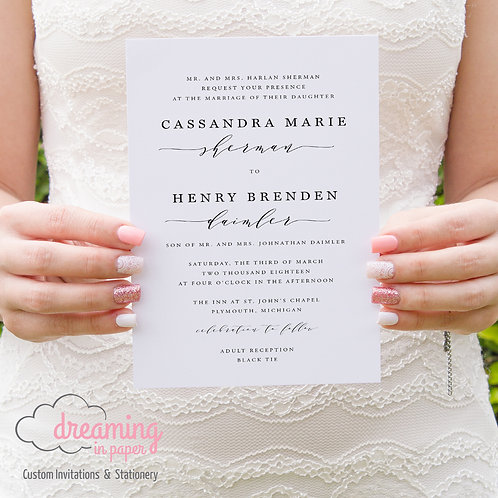 Classic and Modern Melika Wedding Invitation Set