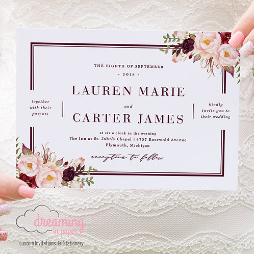 Floral Double Border Wedding Invitation