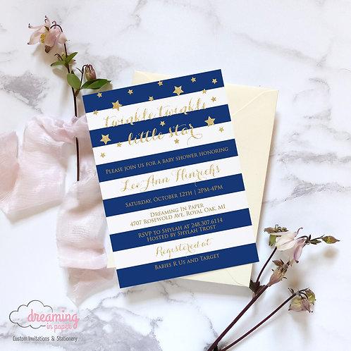 Twinkle Twinkle Little Star Striped Baby Shower Invitation