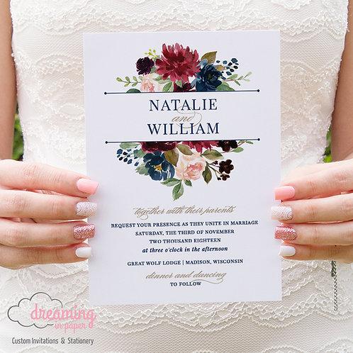 Navy Burgundy Blush Top Monogram Swash Wedding Invitation Set