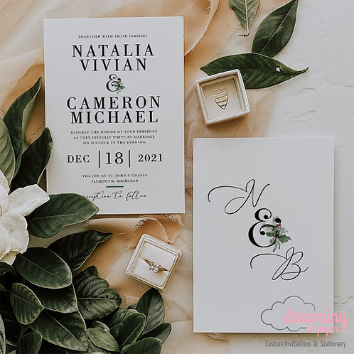 Elegant Holiday Invite, Holiday Wedding, Christmas Wedding Invite, Modern Invite, Winter Wedding, Winter Invitations