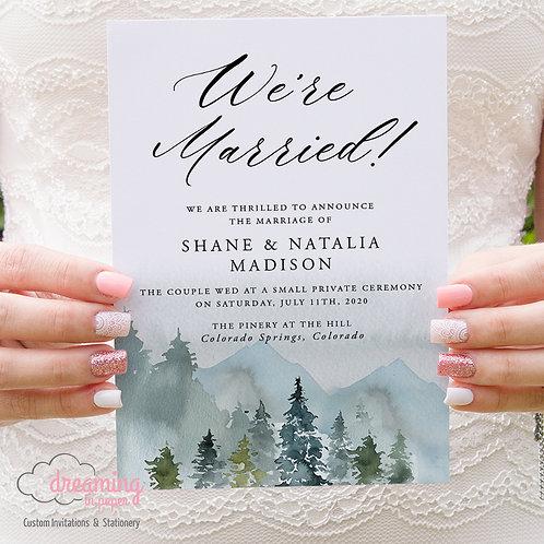 Rustic Mountain Landscape Wedding Announcements 217