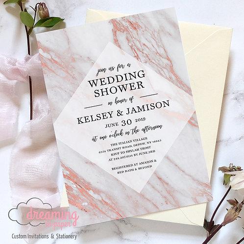 Diamond Rose Gold Marble Bridal Wedding Shower Invitation