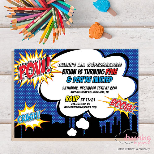 Super Hero Comic Book WOW POW BAM Birthday Invitation