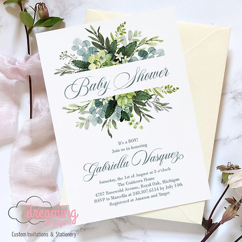 Greenery Baby Shower, Succulents Baby Shower, Baby Shower Invitation, Greenery Shower, Succulents Shower, Gender Neutral Baby