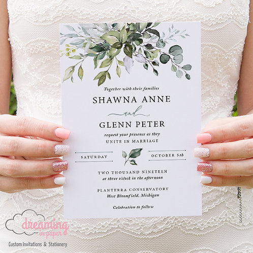 Greenery Wedding Invite, Greenery Invitations, Eucalyptus Wedding Invite, Eucalyptus Wedding, Silver Dollar Eucalyptus, Green