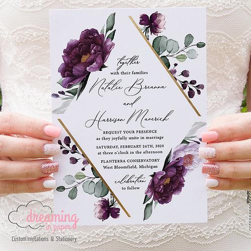 purple wedding invite, plum wedding invite, eggplant wedding, wedding invitations, floral invitations, gold geometric