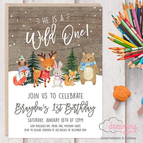 Winter Woodland Animals Wild ONE Birthday Invitations