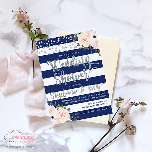 Blush and Navy with Silver Sparkle Floral Bridal Shower Invitation