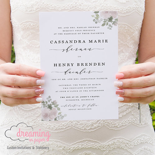 Classic Modern Melika with Light Airy Floral Wedding Invitation Set
