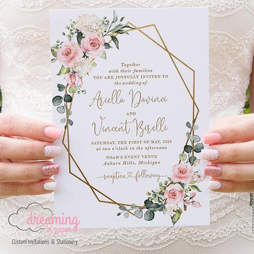 Gold Geometric Blush Sunny Lisima Wedding Invitations 297