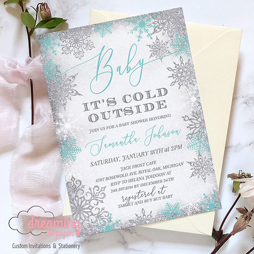 Baby It's Cold Outside Silver Aqua Frost Baby Shower Invitations