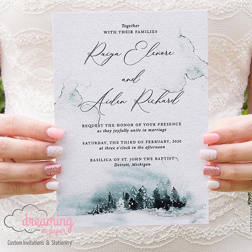 Teal Forest, Wedding Invitation, Wedding Invite, Forest Invite, Winter Wedding, Forest Trees