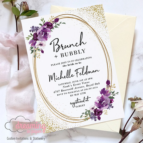 Purple Floral Gold Ovals Brunch Bubbly Bridal Shower Invitation