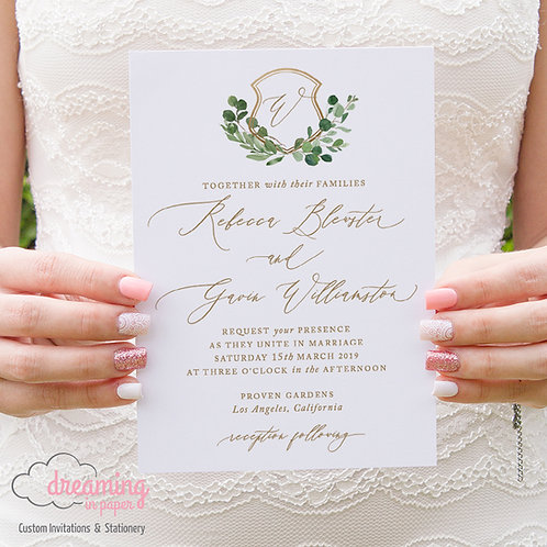 Greenery Gold Wedding Crest Monogram Wedding Invitations 172